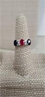 Sterling Silver Ring  W/ Sapphires  & Ru &