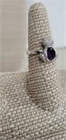 Sterling Silver Cat Ring W/ Amethyst & Cz