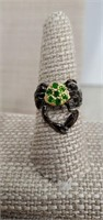 Sterling Silver Ring  W/ Chrom  Diopside