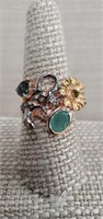 Sterling Silver Ring  W/ Emerald &