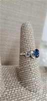 Sterling Silver Ring  W/ Sapphire Size 7 1/ 2