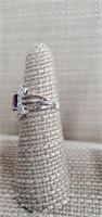 Sterling Silver Ring  W/ Amethyst  & Cz