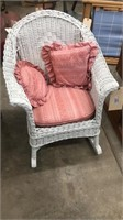 Small Wicker Rocking Chair W/ Pillows