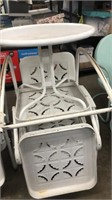 4 White Patio Chairs & 2 White Patio Stands