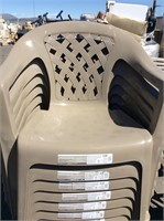 4pc Plastic Patio Chairs Low Back