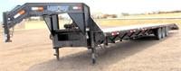 "2014 Load Max Flatbed, GN, 102"" x 38' (33' w/5' dovetail), 3- 10K lb axles (30K total), diamond deck steel floor, w/15K lb Alpha Bulldog Winch & remote (view 1)"