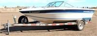 1987 Chaparral 170XL on 1987 Sportster Trlr (single-axle, bumper-pull, has title) Boat has: In-Line 6 cyl eng, new canopy, open bow, fish finder, am/fm stereo, cover, (recent work: new water pump, impeller kit, exhaust & joint bellows, outdrive gasket set, thermostat), comes w/life jackets, fishing poles (view 1)