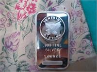 1 troy ounce bar .999 silver bar