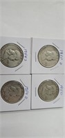4 Franklin Half  Dollars 1950,1950 D,1954 S & 1954