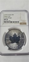 2018 Canada $5. Silver Maple Leaf Incuse Ngc Ms