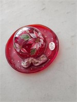 Fenton Hand Painted Hat On Stand