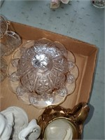 Statue, Glass W/ Gold Trim Candy Dish, Cream & Sug