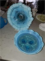 3 Blue Opal Glass Dishes