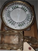 Glass Horse & Assorted Plates