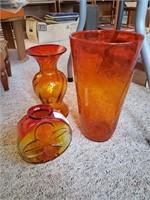 3 Red & Orange Vases