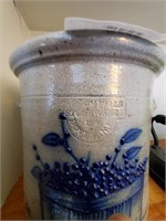 Crock Stoneware Dover, N.y. W/ Blue Berry Basket
