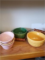 Pitcher, Dessert Cups & 2 Bowls W/ Handles