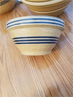 Crock Bowl W/ Blue Strips