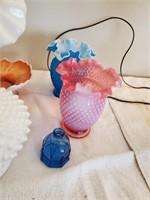 4 Glass Vases & Bowl