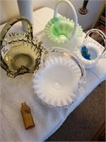4 Glass  Baskets, Vase & Bottle