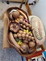 Wooden Bowl W/ Fruit & 2 Stools