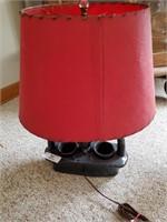 Ceramic Basket Lamp W/ Red Shade