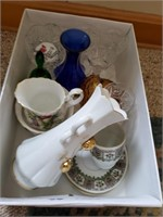 3 Boxes Of Porcelain & Glass Items