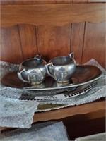 Pewter Cream & Sugar Dishes - Assorted Trays - Dec