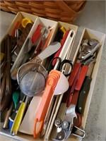 Plastic Kitchenware Organizer & Contents