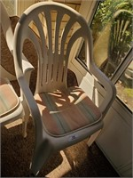 9 White Plastic Patio Chairs - White Bench - Misc