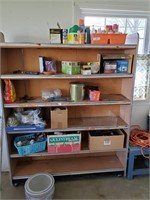 Wooden Shelf And Contents