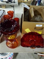 Assorted Red/yellow Glass Dishes - Champagne