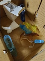 Box Lot Of Glass Shoes / Boots ( Some Fenton)