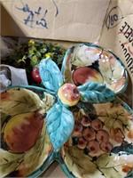 Box Of Milk Glassware, Decorations & Fruit Bowl