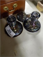 Carnival Glass Leaf & Berry Pattern Candle Holder