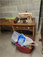 Singer Sewing Machine, Sewing Machine Table & Misc