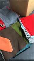 Box Lot Of Wool Fabric Pieces