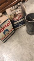 2 Boxes Of Vintage Oil Cans