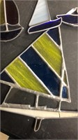 Box Lot Of Stained Glass Boats