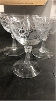 Approx. 8 Floral Design Stem Glasses