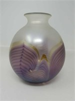 Signed Art glass vase 9 and 1/2 by 8
