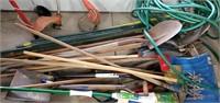 Lot Of Garden Tools, Water Hose, Mop, Shove,