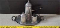 4 Piece Pewter Coffee Set  Made In Italy