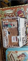 4 Boxes Of Advertising Tins & Picture Frames