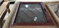 2 Glass Windows W/ Lead Designs