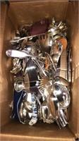 Box Lot Of Assorted Silverware / Servingware