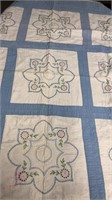 """Blue And White Flower Themed Quilt (59"""" X 66"""")"""