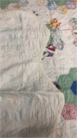 """White And Green Themed Quilt Approx (70"""" X 56"""")"""