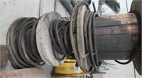 3 WOODEN ROLLS 1 INCH USED CABLE 14J