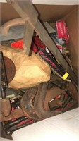 Large Box & Small Basket Of Misc Tools,